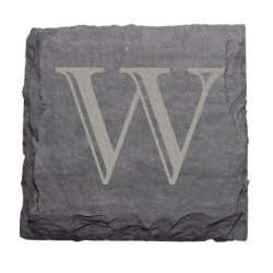 "J.K. Adams 4-Inch Square Monogrammed Initial Slate Coasters, Set Of 4, ""W"""