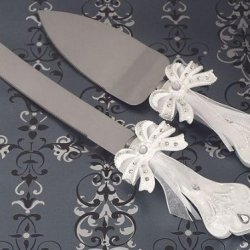 The Elegant Bow Collection Cake And Knife Set C1746 Quantity Of 1