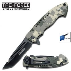 """3.25"""" """"Navy"""" Spring Assisted Tactical Knife - Light Green Digital Camo"""