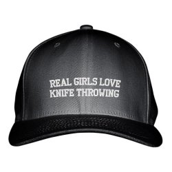 Real Girls Love Knife Throwing Sport Embroidered Adjustable Structured Hat Cap Black