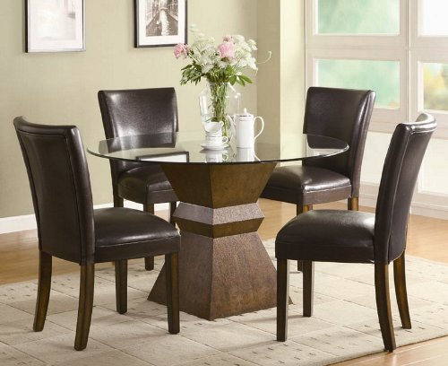 Image of 5pc Dining Table and Chairs Set with Glass Top in Deep Brown Finish (VF_DINSET-102800-103053)