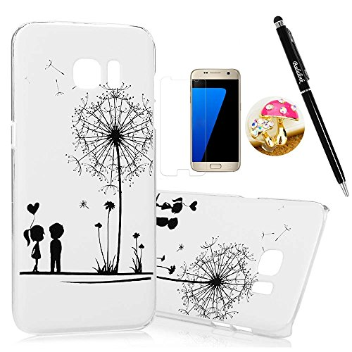 S7-Edge-CaseSamsung-Galaxy-S7-Edge-Case-BADALink-Ultra-thin-Slim-Fit-Colorful-Print-Pattern-Hard-PC-Cover-with-High-Definition-Screen-Protector-Dust-Plug-Stylus-Pen-Dandelions-and-Lovers