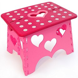 """Kids Folding Step Stool - Pink, 8.5"""" High, Plastic - Perfect For Children & Toddlers - Cute Modern Design - Foldable To Small Size For Storage - Ideal For Your Child In Bathroom, Kitchen Or Toilet - Free Potty Training Guide - Best Lifetime Warranty"""