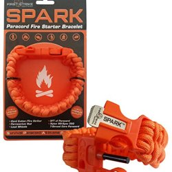 Spark (Tm) Fire Starter Paracord Bracelet In Hunters Orange Centipede Braid With Orange Emergency Whistle Side Release Buckle - Magnesium Fire Steel - Clasp With Knife Cutter & Striker Accessories - Survival Gear Kit On Your Wrist - Black 550 Mil-Spec 7-S