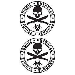 Auto Vynamics - Zorv-Machetes-10-Gbla - Gloss Black Vinyl Zombie Outbreak Response Vehicle (Zorv) Decal - Crossed Machetes Design - Matching Pair - (2) Piece Kit - 10-By-10-Inches