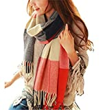 Wander Agio Women's Fashion Long Shawl Big Grid Winter Warm Lattice Large Scarf Red Winter