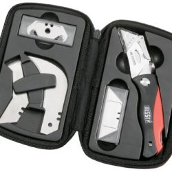 Bessey Folding Utility Knife With Comfort Grip Handle And Accessory Blade Set