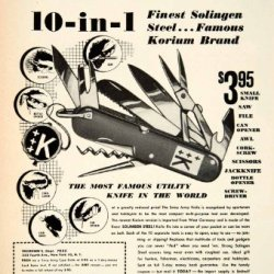 1955 Ad Swiss Army Pocketknife Thoresens 352 Fourth Ave Nyc Tool Solingen Steel - Original Print Ad