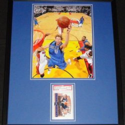 Dirk Nowitzki Signed Framed 16X20 Photo Poster Display Psa/Dna Mavericks