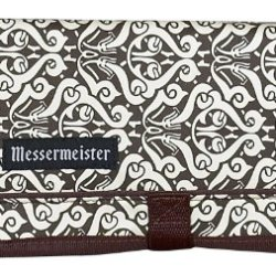 Messermeister 10-Pocket Padded Gadget Roll, Brown And Cream Paisley