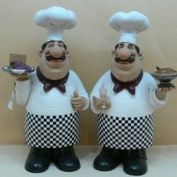 Fat Chef Kitchen Statues Set Of 2 Bistro Cooking D64133