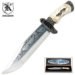 Running Wolf Fixed Blade Knife With Display Box