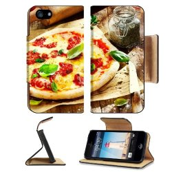 Pizza Dish Food Spices Tomatoes Cheese Dough Knife Fork Apple Iphone 5 / 5S Flip Cover Case With Card Holder Customized Made To Order Support Ready Premium Deluxe Pu Leather 5 3/16 Inch (132Mm) X 2 11/16 Inch (68Mm) X 9/16 Inch (14Mm) Liil Iphone 5 Profes