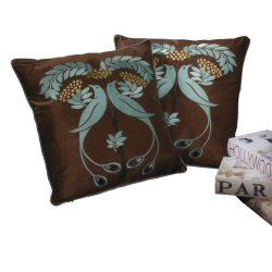 Best Selling 18-Inch Light Blue Embroidered Pillow, Set Of 2