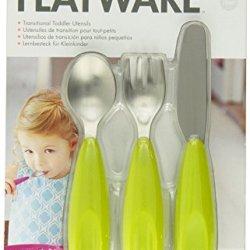 Boon Flatware Transitional Toddler Utensils, Green