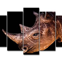 5 Panel Wall Art Painting Rhinoceros Head Close Up Pictures Prints On Canvas Animal The Picture Decor Oil For Home Modern Decoration Print