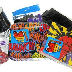 Superhero Fun Party Supplies - Plates, Napkins, Silverware, Cups, Tablecover, & Mini Baking Cups