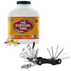 Survival Tabs 15-Day Prepper Food Replacement For Banquet Chef Emergency Food Supply Gluten Free And Non-Gmo - Vanilla Malt Flavor Survival Tabs Combo + Scout Bike Tool Set Mini Foldable 26-Function Bicycle Tool Kit