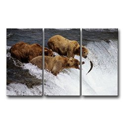 3 Panel Wall Art Painting Three Brown Bears Hunt Fish In Water Alaska Pictures Prints On Canvas Animal The Picture Decor Oil For Home Modern Decoration Print