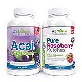 Acai Beeren und Himbeer Ketone DUO Pack Plus 180 Stck - Himbeer-Ketone Gewichtsverlust, Acai Extrakt, Fettverbrenner für Bauch, fatburner pillen - ohne Nebenwirkungen - Antioxidantien in Diätpillen
