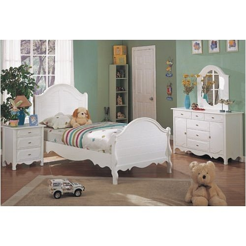 Image of 4 pc white finish wood twin size kids bedroom set (VF_BEDSET-F9028)