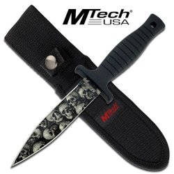 "Mt-097Sc "" Zombie "" Kgcorl Grey Skull Camo Coated Boot Knife 9 1/8"" Enlnwi Overall Ayeuiu56 Hlbv23Rt Skull Camo Ban4Ipeksh Coated Stainless Steel Bladeblood Groovemicarta Rubber Handlelanyard Hole9 1/8"" Overall In Lengthincludes 4Doye Nylon Belt Sheath."