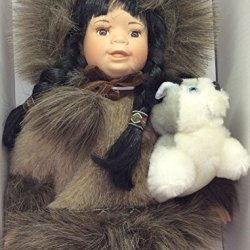 "Alaska Eskimo Porcelain Face Doll 13"" Faux Fur & Husky Dog"