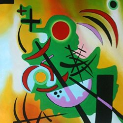 "Wassily Kandinsky _ Standhaftes Grun _Oil Painting On Canvas 20X24"" Abstract Modern Wall Canvas Art Repro"