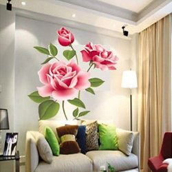 Unihandbag Practical Removable Wall Vinyl Decal/Sticker Art Rose Flower Diy Home Decor Best