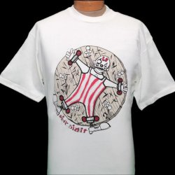 New! Large Limp Bizkit Clown On Wheel With Throwing Knives Short Sleeve Band Shirt White Tshirt