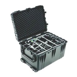 Pelican 1660 Recessed Wheeled Watertight Case With Padded Dividers Black L X W X H :31.5 X 22.875 X 18.875