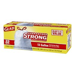 Glad Tall Kitchen Drawstring Trash Bags, 13 Gallon, 22 Count (Pack Of 2)