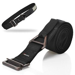 Tprance® Durable Heavy Duty Tactical Belts For Men Outdoor With D-Ring For Harness Velcro Design Adjustable Metal Bucklek Black 110Cm M