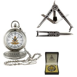 (Set Of 2) Masonic Folding Pocket Knife & Silver Finish Pocket Watch W/Chain