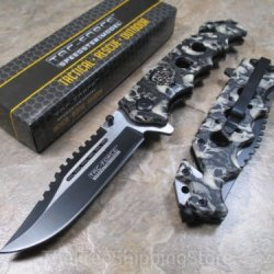 Tac Force Gray Skull Miltary Design Folding Knife Collector Serries