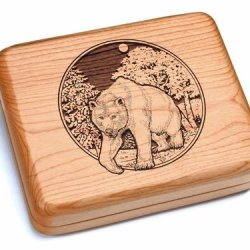 """5X6"""" Box With Double Pocket Knives - Bear/Woods"""