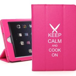 Apple Ipad 2 3 4 Hot Pink Leather Magnetic Smart Case Cover Stand Keep Calm And Cook On Chef Knives