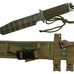 """12"""" Tactical Hunting Knife 7"""" Camouflage Blade. Full Tang Cord Wrapped Handle With Nylon Sheath"""