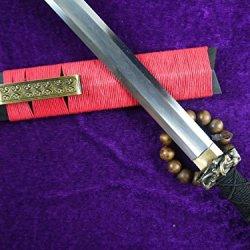 Han Jian Chinese Sword Sale Handmade Pattern Steel Blade Ebony Scabbard Brass