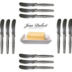French Laguiole Dubost - 12 Butter Knives - In All Stainless Steel (Genuine Quality Family Dinner Inox Table Flatware/Cutlery Spreaders Setting For 12 People - Each Knife: 6 Inches - Manufactured In France - With Certificate Of Authenticity - Direct From
