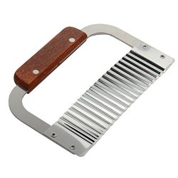 Wooden Handle Corrugated Ripple Wave Knife French Fries Knife Pastry Handmade Soap Cutting Device Potato Cutter Cake Tools