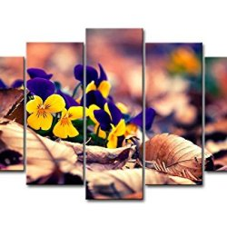 Yellow Orange 5 Piece Wall Art Painting Yellow And Blue Pansies In The Ground Pictures Prints On Canvas Flower The Picture Decor Oil For Home Modern Decoration Print For Kids Room