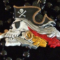 Pirate Skull New Orleans Mardi Gras Beads Dagger Fish Eye Patch