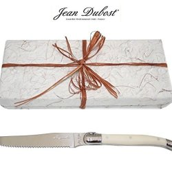 Laguiole Dubost - Ivory White - 10 Round Tip Table Dinner/Butter Knives/Spreaders - Direct From France