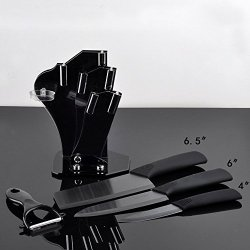 "Timhome Brand Black Blade Ceramic Knife Set Kitchen Knives 4"" 6"" 6.5"" + Peeler + Acrylic Holder(4""/6""/6.5"")"