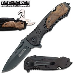 A-Team Ao Tactical Rescue Folding Knife - Black W/ Wooden Inserts