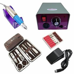 Wholesale Nail Beauty Tools Set: 25000 Rpm Electric Nail Manicure Drill File Machine With Foot Pedal + Smart 7 In 1 Nail Care Personal Manicure & Pedicure Set Travel & Grooming Kit With A Crocodile Pattern Wallet