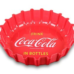 "Set Of 3 - 12"" Round Coca Cola Cap Plastic Trays, Fast Food Tray, Lunch Tray, Dinner Tray, Appetizer Platter"