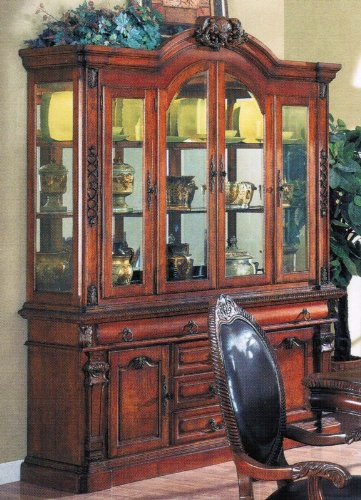 Image of China Cabinet Buffet Hutch Cherry Brown Finish (VF_AM9390)