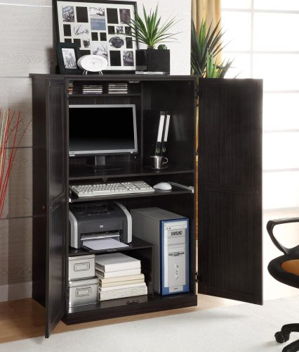 Picture of Comfortable Computer Armoire in Walnut Ebony - Innovex - CA750P36 (B004GITK3U) (Computer Armoires)